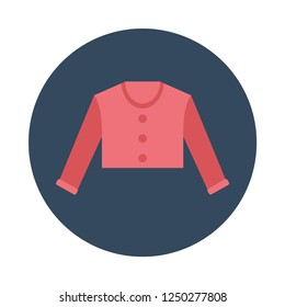 Cardigan flat icon. You can be used cardigan icon for several purposes like: websites, UI, UX, print templates, presentation templates, promotional materials, info-graphics, web and mobile phone apps.