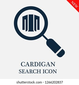 Cardigan search icon. Cardigan icon in magnifier icon. Editable Cardigan search icon for web or mobile.