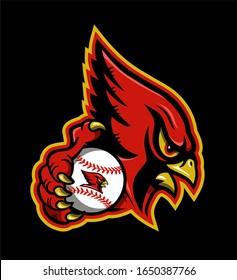 cardinal baseball team mascot holding ball for school, college or league