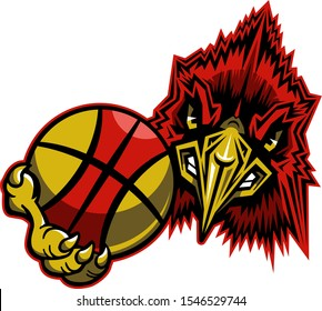 cardinal basketball team mascot holding ball for school, college or league