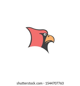 Cardinal bird cartoon mascot,head vector on a white background