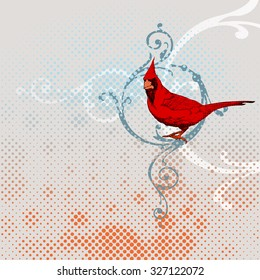 Cardinal Bird with floral swirl