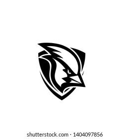 cardinal bird head black white mascot logo icon designs vector illustration