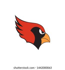 Cardinal bird head mascot icon vector on a white background
