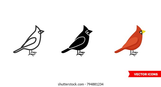 Cardinal bird icon of 3 types: color, black and white, outline. Isolated vector sign symbol.