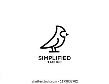 cardinal bird mono line logo icon designs vector
