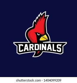 cardinal bird  red color head mascot logo icon designs vector illustration