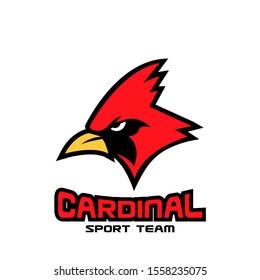 cardinal bird red logo with black background icon design vector