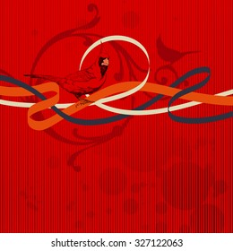 Cardinal Bird with ribbons on the abstract background