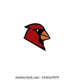 Cardinal Head Mascot vector icon isolated on a white background
