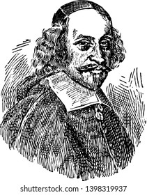 Cardinal Jules Mazarin 1602 to 1661 he was an Italian cardinal diplomat and politician vintage line drawing or engraving illustration