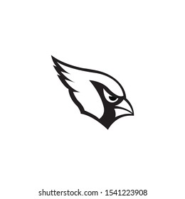Cardinal mascot head silhouette  vector on a white background