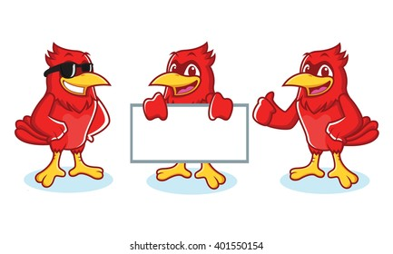 Cardinal Mascot vector happy pose and bring board