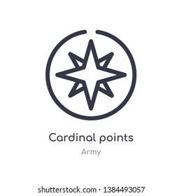 cardinal points on winds star outline icon. isolated line vector illustration from army collection. editable thin stroke cardinal points on winds star icon on white background