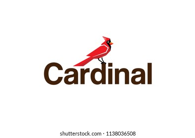 Cardinal Red Bird Logo Vector Design Illustration