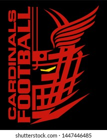 cardinals football team design with helmet and wings for school, college or league