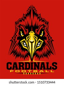 cardinals football team design with mascot head and laces for school, college or league