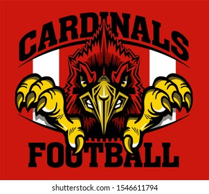 cardinals football team design with mascot inside ball for school, college or league