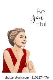 "a card/inspiration poster/banner template with a beautiful young smiling woman, red lips and nails, elegant red dress and a pun ""beyoutiful"""