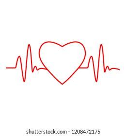 Cardio, heart, heart beat icon. Vector illustration, flat design.