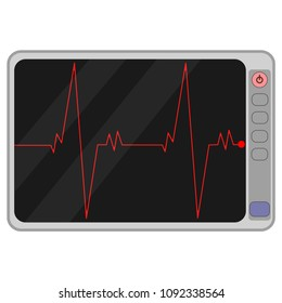 Cardio monitoring system isolated on white background. Heart pulse, signal. Heartbeat, electrocardiogram line. Cardiology medical chart. Vector flat illustration.