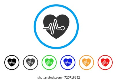 Cardio Pulse rounded icon. Style is a flat cardio pulse gray symbol inside light blue circle with black, gray, green, blue, red, orange color versions. Vector designed for web and software interfaces.