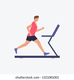 Cardio training flat icon. Runner, man, treadmill. Fitness concept. Can be used for topics like gym, running, warmup