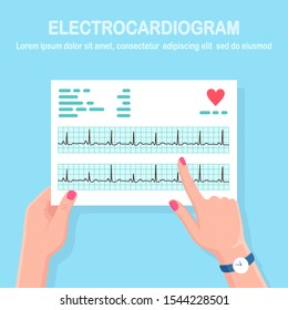 Cardiogram in doctor hand. Diagnosis cardiovascular disease. Chart of heart beat rhythm. Ecg document. Vector flat design