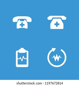 Cardiogram icon. collection of 4 cardiogram filled icons such as heartbeat clipboard, medical phone. editable cardiogram icons for web and mobile.