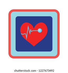 Cardiogram icon. Heartbeat symbol, ecg or ekg heart beat illustration