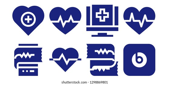 cardiogram icon set. 8 filled cardiogram icons. Simple modern icons about  - Cardiogram, Health, Medical, Beats pill
