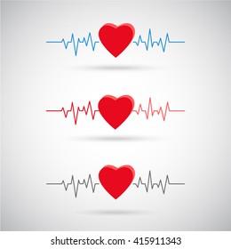 Cardiogram icon set. Heartbeat vector icon. Cardiology healthcare.