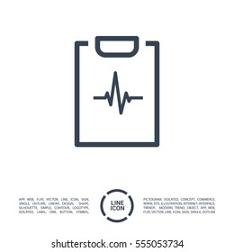 cardiogram isolated minimal icon. heart graph line vector icon for websites and mobile minimalistic flat design.