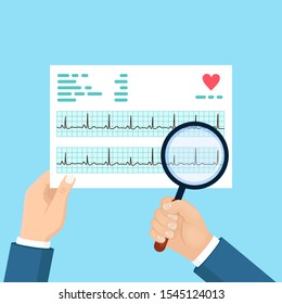 Cardiogram and magnifying glasses in doctor hand. Diagnosis cardiovascular disease. Chart of heart beat rhythm. Ecg document. Vector flat design