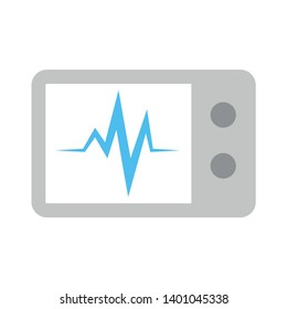 Cardiogram monitor vector icon. filled flat sign for mobile concept and web design. EKG computer monitor simple solid icon. Medical cardiology symbol, monitoring Heart beats symbol.