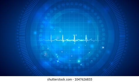 Cardiogram, normal heart rhythm on an abstract background