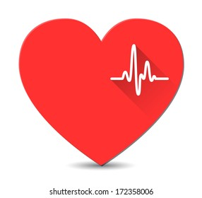 Cardiogram on red heart in flat style with long shadows. Vector