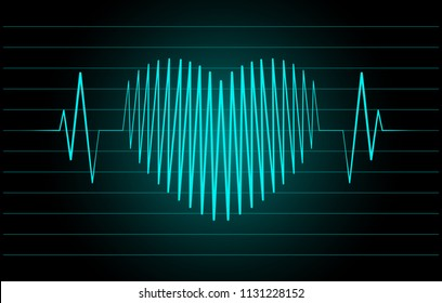 Cardiogram in the shape of the heart on a black background
