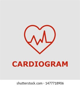 Cardiogram symbol. Outline cardiogram icon. Cardiogram vector illustration for graphic art.