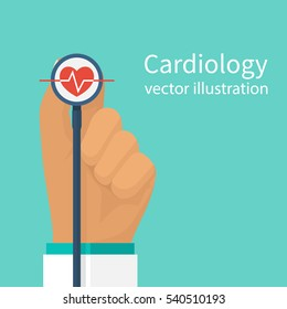 Cardiologist doctor stethoscope hold in hand. Red heartbeat with life line, symbol healthcare. Medical background. Vector illustration flat design. Cardiology concept.