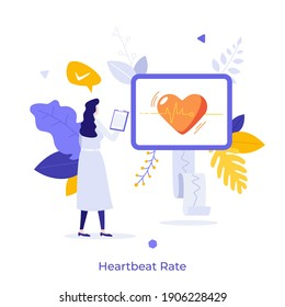 Cardiologist or physician monitoring heart rate or heartbeat on display. Concept of cardiology, cardiogram, cardiovascular system treatment or research. Modern flat vector illustration for poster.