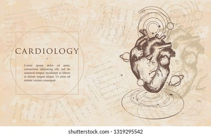 Cardiology. Anatomocal heart in space. Mecical concept. Renaissance background. Medieval manuscript, engraving art