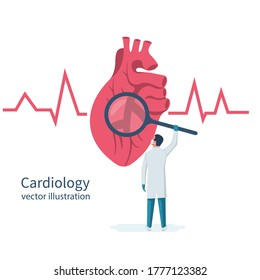 Cardiology concept. Cardiologist doctor holds magnifying glass in hands, looks to big human heart. Red heartbeat with life line, symbol healthcare. Medical background. Vector illustration flat design.