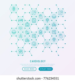 Cardiology concept in honeycombs with thin line icons set: cardiologist, stethoscope, hospital, pulsometer, cardiogram, heartbeat. Modern vector illustration for banner, web page, print media.