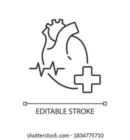 Cardiology department linear icon. Cardiology consultant. Medical diagnosis. Cardiac surgeon. Thin line customizable illustration. Contour symbol. Vector isolated outline drawing. Editable stroke