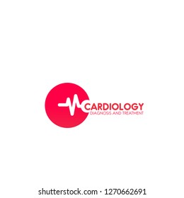 Cardiology diagnosis and treatment vector sign in red color isolated on a white background. Heart design, concept of cardiology medical health care. Emblem with pulse, symbol of preasure
