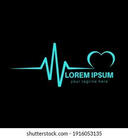 Cardiology doctor pharmacy healthcare medical heart beat wave heart graph cardiogram pulse lifeline ecg and ekg vector illustration design for business.