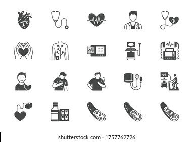 Cardiology flat icons. Vector illustration included icon as heart attack, ecg monitor, doctor, pacemaker, defibrillator, atherosclerosis black silhouette pictogram for medical cardiovascular clinic.