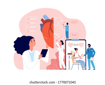Cardiology. Health heart check up, cardiologists and cardiovascular pressure. Transplantation research, hypertensive disease vector concept