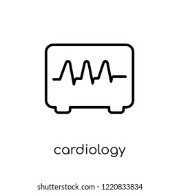Cardiology icon. Trendy modern flat linear vector Cardiology icon on white background from thin line Health and Medical collection, editable outline stroke vector illustration